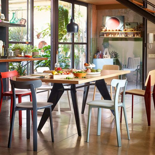 058-VITRA-All Plastic Chair, Standard Chair, PlyWood Chair, Tip Ton Chair, EM Table+Landi Chair Small_small