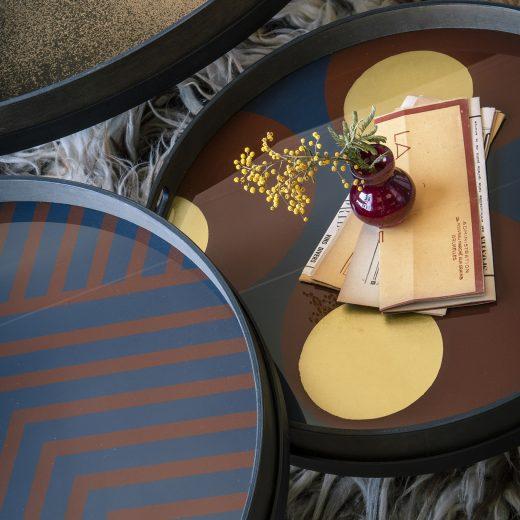 20934 Midnight Chevron tray & 20933 Turkish dots tray & 20605 Bronze Round mirror large on Round table tray set (3)