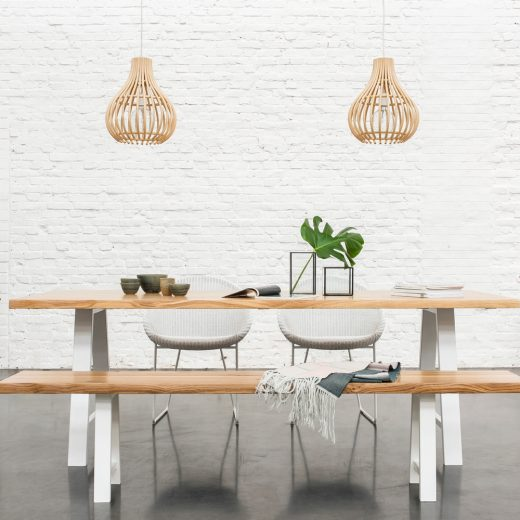 Vincent-Sheppard-Albert-dining-table-bench-Joe-dining-chair-sled-base-Bulb